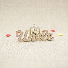 MDF wooden uncle word shape laser cut from Premium 3mm MDF (Medium Density Fibreboard). Sizes from 3cm to 6cm tall in 3mm thickness.