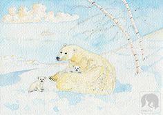 Polar Bears under the Aurora Animal and Nature Artwork