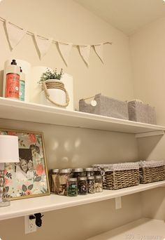 Shelves for sewing room alcove tutorial.  Like the tip to keep them from bowing.