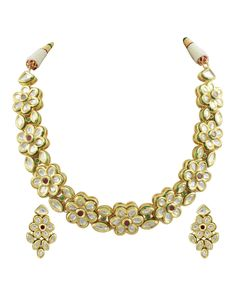 Kundan Floral Row Collar Semi Precious Stone Bridal Set by KundanCrystalBride on Etsy
