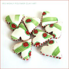 Polymer Clay Heart Pillow Beads ~Watermelon Smoothie~ by Iris Mishly, via Flickr