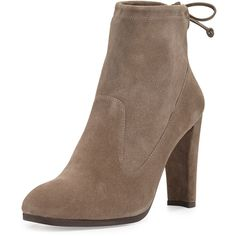 Stuart Weitzman Glove Tie-Back Suede Ankle Boot ($570) ❤ liked on Polyvore featuring shoes, boots, ankle booties, ankle boots, praline, stretchy boots, bow ankle boots, bootie boots and short boots