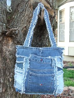 Denim tote bag. Made from repurposed Tommy by TatteredSisters