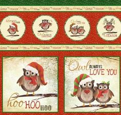 Owl+be+Home+for+Christmas+Craft+Panel+by+Elizabeth+Studio+at+Creative+Quilt+Kits