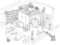 #Interior #sketch of a #House B, #Slovakia by @ateliertoito #architecture