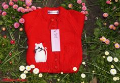 HANDMADE  Baby Cardigan With cat by Littlefairydesigns on Etsy