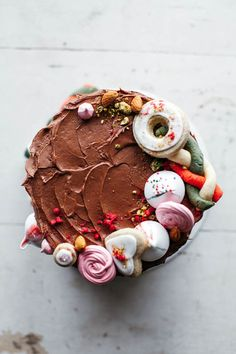almond butter cake with chocolate frosting