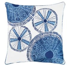 Coastal cool, and sophisticated, this Blue Sea Urchin Shells Outdoor Sunbrella® Pillow embroidered with amazing shell details is created to enhance any indoor or outdoor room with classic beach home styling. Blue Pillows, Throw Pillows, Sea Urchin Shell, Sea Shells, Sunbrella Pillows, White Paneling, Pillow Sale, Decorative Pillows, Blue And White