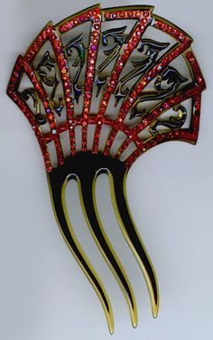 VINTAGE ART DECO ELEGANT RED RHINESTONE CELLULOID HAIR COMB