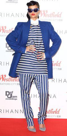 Rhianna in stripes by Acne Studios