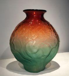 Hand Blown glass Sunset Branch Vase by Bernard Katz