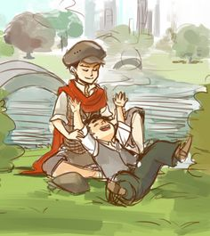 by minuiko:  Mako and Bolin in the park.