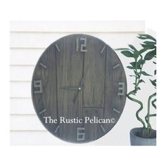 Reclaimed wood styleClock, Large Wall Clock, Farmhouse Decor, Rustic... ($138) ❤ liked on Polyvore featuring home, home decor, wood home decor and wooden home decor
