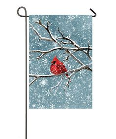 Look at this #zulilyfind! Snowy Day Cardinal Flag #zulilyfinds