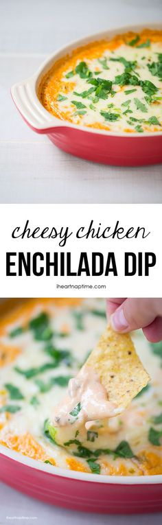 Cheesy chicken enchilada dip... the most amazing cheese dip you will ever make! Super easy to make too!