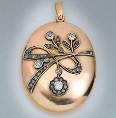 Art Nouveau Antique Diamond Gold Locket by RomanovRussiacom