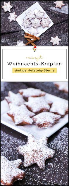 Rezept für Weihnachts-Krapfen – zimtige Hefeteig-Sterne - Weihnachts- und Karnevalsgebäck in einem | Filizity.com | Food-Blog aus dem Rheinland #karneval #krapfen #weihnachten #zimtsterne