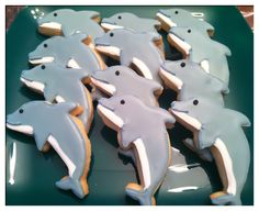 Dolphin cookies, I wouldn't eat them ( just because they are dolphins)  even though they look so good....!
