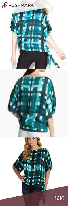 MICHAEL KORS Green Side Tie-Blouse Top MEDIUM NWT MICHAEL Michael KORS Sea Green Plaid-Print Side Tie-Hem Top SIZE ~ ( MEDIUM ) RETAILS FOR $89.50 + TAX  This printed boxy top with a side-tie is an easy-wear chic option to pair with your favorite black skinny jeans. A bright SEA GREEN plaid print and asymmetrical hemline dresses up this top. Boat neckline, Pullover style, Dolman sleeves, Tie at side hem..Plaid print throughout..Relaxed fit, Feels like you are wearing a Silk top..Hits at hip…