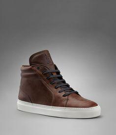 YSL Malibu Mid-top Sneaker in Brown Brushed Leather