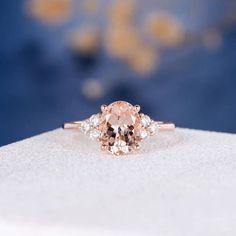 Etsy Morganite Ring Rose Gold Engagement Ring Oval Cut Wedding Bridal Cluster Diamond Anniversary Promise #ovalweddingring