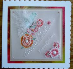 Another Maria Maidment designed Groovi plate parchment card. . These are ideal to make a fairly quick pretty card.