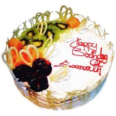 The cake with fresh fruit topping nicely designed with white chocolate garnishing and is all time favorite fruit flavor to make it beautiful. Fruit Cake Mix, Kiwi Cake, Fresh Fruit Cake, Jelly Cake, Fruit Cakes, Order Birthday Cake Online, Birthday Cake Delivery, Order Cakes Online, Birth Cakes