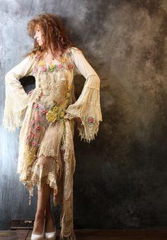 Gypsy Hippie Crochet Fantasy Dress