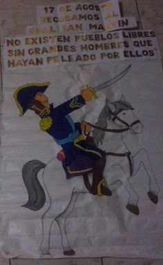 Cartelera homenaje al Gral. José de San Martín Colegio Ideas, Moka, Education, Social Environment, Frases, August 17, Flip Books, Elementary Art, Story Time
