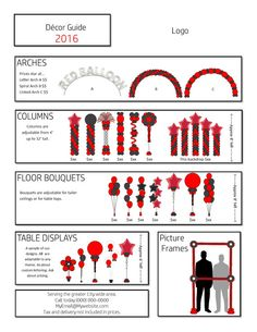 Balloon Arch Diy Discover 2020 Pricing Flyer Style A black and gold in .pub and .pdf and . Balloon Arch Diy, Balloon Decorations Party, Balloon Columns, Balloon Garland, Balloon Ideas, Clipart, Balloon Prices, Create Flyers, Balloon Stands