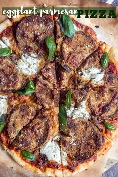 Sep 2019 - If you love baked eggplant parmesan, you will absolutely LOVE this eggplant parmesan pizza recipe! Homemade pizza on Friday nights never looked so good! Oven Baked Eggplant, Eggplant Pizzas, Eggplant Parmesan, Eggplant Recipes, Pizza Recipes, Vegetarian Recipes, Flatbread Recipes, Vegetarian Dinners, Savoury Recipes
