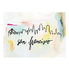 """The San Francisco skyline against abstract brush strokes. Original illustration with hand lettering by Patricia Shen. - 5"""" x 7"""" - Printed in full color on heavyweight cover paper"""