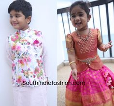 At a recent wedding, Allu Arjun and Sneha Reddy's kids Ayaan and Arha were seen in traditional outfits by Samta & Shruti Studio. allu arha in pattu lehenga, allu arjun daughter Boys Dress Outfits, Kids Dress Wear, Kids Gown, Dresses Kids Girl, Kids Outfits, Kids Ethnic Wear, Baby Boy Ethnic Wear, Toddler Fashion, Kids Fashion