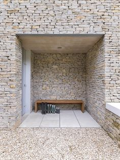 Private home in Cotswolds, England by Found. Stone is not just an ancient material. It has just as much a place in contemporary design as concrete Architecture Details, Interior Architecture, Contemporary Architecture, Exterior Design, Interior And Exterior, Stone Exterior, Casa Patio, Brick And Stone, Stone Walls