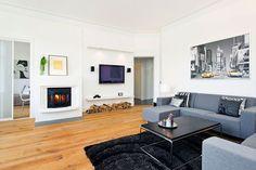 Romantic Themed Living Room Decoration Ideas : Black Fur Rug Elegant Bed Sofa Black Coffee Table Wall Tv Setup Living Room Design Ideas, Romantic Living Room Interior Design