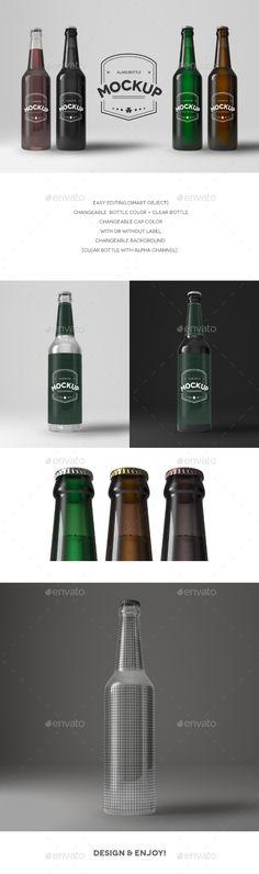Download Free Graphicriver              Glass Bottle Mockup            #advertise #alcohol #beer #beerbottle #bottle #drink #fresh #glassbottle #lemonade #mock-up #mockup #product #refreshingdrink #transparentbottle