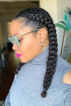 Cute Natural Hairstyles, Natural Hair Updo, Black Women Hairstyles, Girl Hairstyles, Natural Protective Hairstyles, Two Braids Hairstyle Black Women, Professional Natural Hairstyles, Protective Braids, Flat Twist Hairstyles