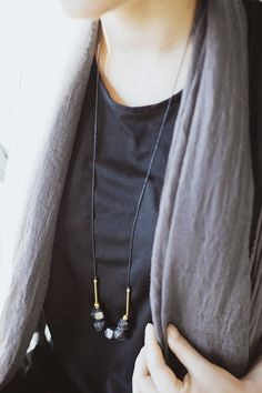 Mixed Media Boho Necklace / Black Brass Gold by BlueBirdLab