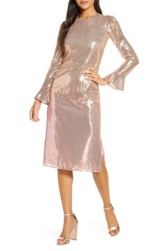 Women's Rachel Parcell Sequin Long Sleeve Dress, Size X-Large - Pink (Nordstrom Exclusive) Long Midi Dress, Long Sleeve Sweater Dress, Maxi Wrap Dress, Blush Dresses, Elegant Dresses, Long Dresses, Party Dresses, Black Dress With Sleeves, Dresses With Sleeves