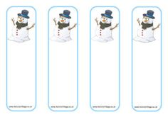 Snowman bookmarks and many other free Christmas bookmarks