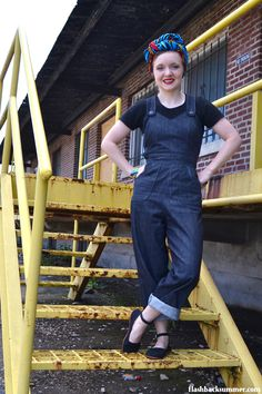 Flashback Summer: Wearing History Homefront Overalls - 1930s 1940s WWII Rosie the Riveter