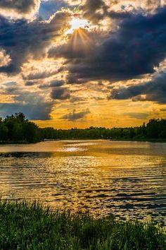 Puesta de sol, Lago Vanajavesi, Hameenlinna, Finlandia