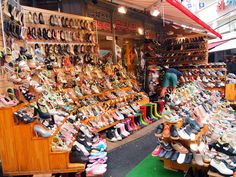 The neighborhood of Edae is most famous for being home to Ewha Woman's University, a prestigious university for female students.  Because of its student population, the streets of area are lined with an endless number of boutiques and cafes.  Shoes are one of the hottest items sold in Edae.  Prices start at 10,000 won (that's less than 10USD!) and go up.  To get there, take Line 2 of the subway to Ewha Woman's University Station and go through Exits 2 & 3.