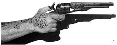 More of Marshall Harris drawings at Hand Guns, Ink, Fine Art, Drawings, Illustration, Artwork, Fictional Characters, Portal, Pencil
