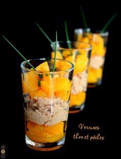 Recette de Verrines au thon et à la pêche : la recette facile