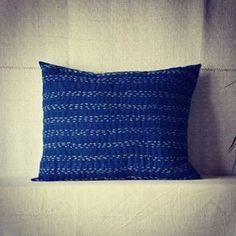 Sashiko cushion blue pillow kantha cushions kapok pillows eco friendly sustainable natural home boho cushions quilted pillow bohemian
