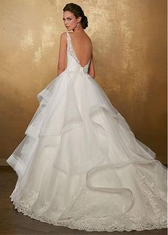 Romantic Tulle V-neck Neckline Low Back Full Length A-Line Wedding Dress With Lace Appliques & Ruffles sold by Show Fashion on Storenvy Wedding Dresses Plus Size, Bridal Wedding Dresses, Dream Wedding Dresses, Wedding Attire, Ball Dresses, Ball Gowns, Unconventional Wedding Dress, Cocktail Gowns, Bride Gowns