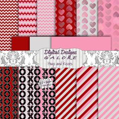 Hugs and Kisses Digital Paper Pack Set of 15 Valentine's Day digital papers by DigitalDesignsGalore, $3.99  #digital #photography #scrapbook