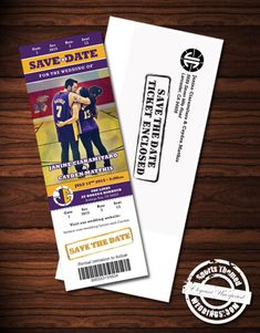 Our Basketball Wedding Save the Date tickets make quite an impression for under $1.50 each!  Custom Design included!