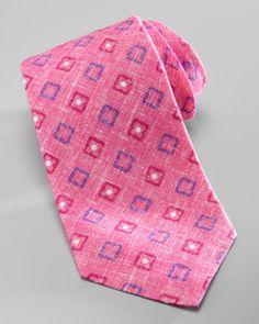 Kiton Quatrefoil Pop Squares Linen Tie, Magenta - Neiman Marcus